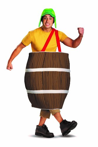 Disguise El Chavo Deluxe Barrel Adult Costume, Brown, X-Large/42-46