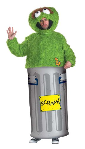 Disguise Unisex Adult Oscar the Grouch, Multi, X-Large (42-46) Costume