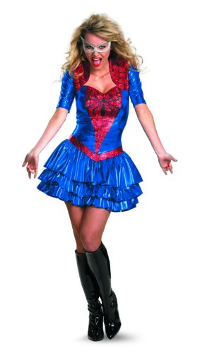 Disguise Women Of Marvel Spider-Girl Sassy Deluxe Costume, Red/Blue, Small/4-6