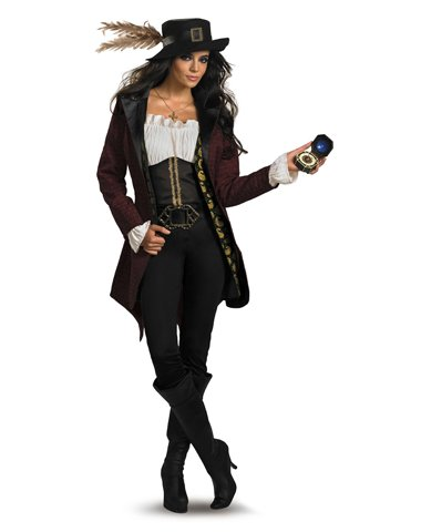 Disguise Women's Disney Pirates Of The Caribbean Angelica Prestige Costume, Black/White/Burgandy/Gold, Large