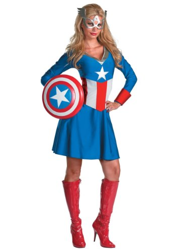 Disguise Womens Marvel Avengers Miss Classic Captain America Halloween Costume, Small (4-6)