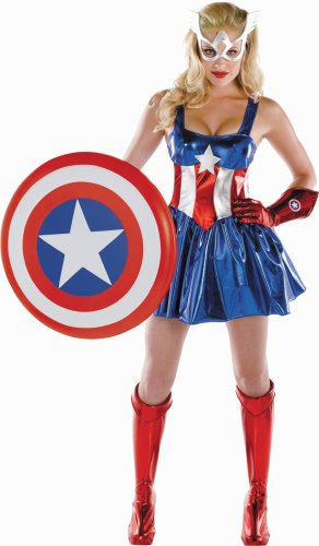Disguise Women's Marvel Captain America American Dream Sassy Deluxe Costume, Red/White/Blue, Small