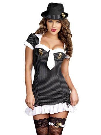 Dreamgirl Money Honey Gangster Mobster Costume, Black/White, Small