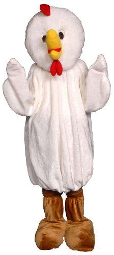 Dress Up America Mens Chicken Economy Mascot Adult Costume White One-size