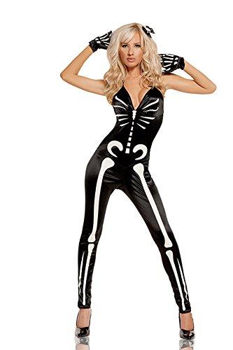Elegant Moments Women's Sexy Skeleton, Black, Large