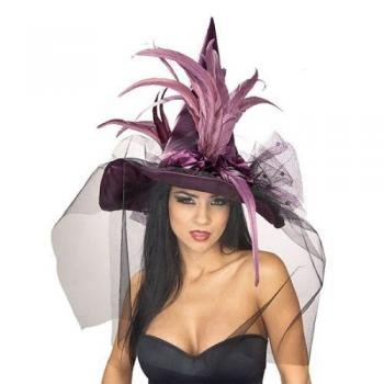 Feather Witch Hat, Purple, ONE SIZE FITS MOST