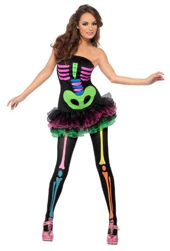 Fever Neon Skeleton Costume, Multi, Small