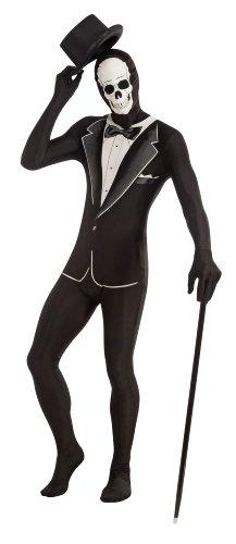 Forum Novelties Women's Disappearing Man Patterned Stretch Body Suit Costume Skull Tuxedo, Black/White, Medium/Large