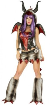 J-Valentine-Womens-Faux-Fur-Fire-Breather-Dragon-Sexy-Halloween-Complete-Costume-Large-BlackRed-0