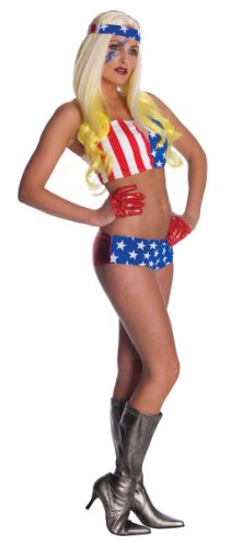 Lady Gaga American Flag Outfit,Red/White/Blue,X-Small Costume