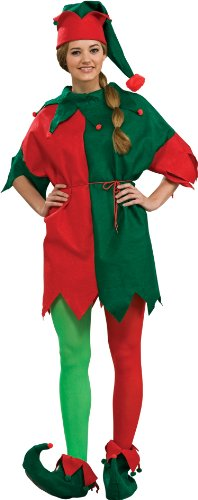 Rubie's Costume Adult Elf Costume 4-Piece Set, Red/Green, One Size