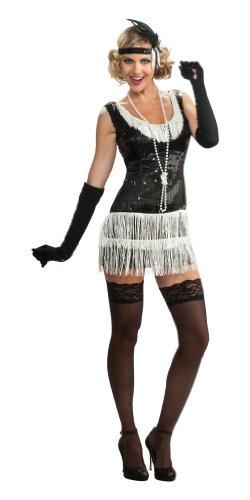 Rubie's Costume Deluxe Adult Black Sequin Flapper Dress, Black, Medium