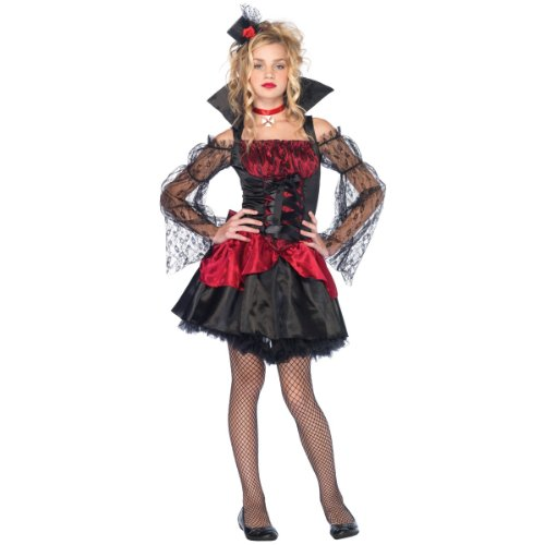 3 PC. Victorian Vampire, includes off the shoulder dress with lace accents and stand up collar, removable oversized bow detail, and cross choker.(BLACK/RED,SML/MED)