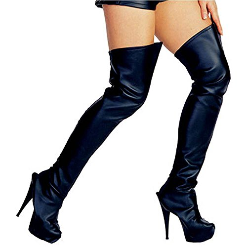Black-Faux-Leather-Thigh-High-Boot-Tops-One-Size-0