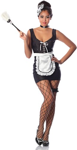 Delicious Women's Mon Ami Sexy Maid Costume, Black/White, Small ...