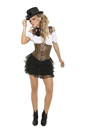 Sexy-Womens-Racy-Steampunk-Rose-Adult-Roleplay-Costume-X-large-WhiteBrownBlack-0