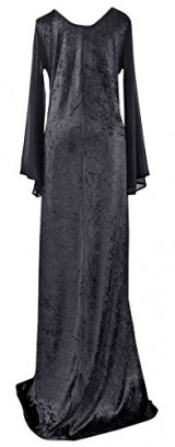 Size-24-Black-Extra-Long-Tall-Scoop-Neck-Velvet-Gothic-Stretch-Witch-Dress-0-0