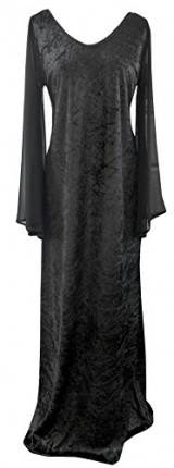Size-24-Black-Extra-Long-Tall-Scoop-Neck-Velvet-Gothic-Stretch-Witch-Dress-0