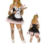 Womens-Medium-Large-Polka-Dot-Tuxedo-Maid-0