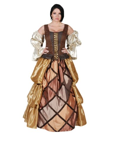 Womens-Pirate-Gown-Theater-Costume-Small-Browns-0