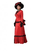 Womens-Red-Victorian-Sadie-Dress-Theater-Costume-L-0
