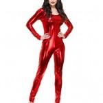 Womens-Sexy-Liquid-Metal-Red-Long-Sleeve-U-Neck-Unitard-Costume-Small-5-7-0
