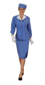 Womens-VintageRetro-Stewardess-Outfit-S-Blue-0